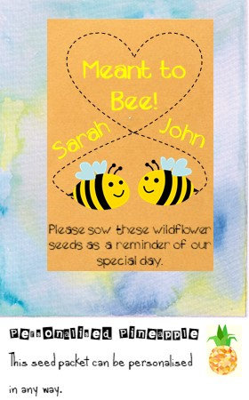 Wedding Meant to Bee Flower Seed Packet Favour Brown