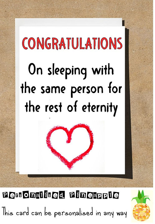 CONGRATULATIONS SLEEPING SAME PERSON FOR REST OF LIFE ENGAGEMENT / WEDDING CARD