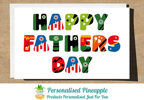 HAPPY FATHERS DAY CARD SUPERHERO LETTERING
