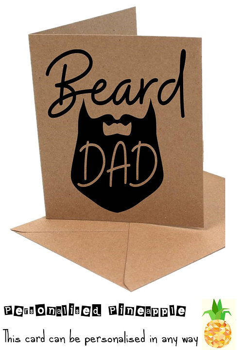FATHERS DAY CARD - BEARD DAD - CAN BE PERSONALISED - WHITE OR KRAFT