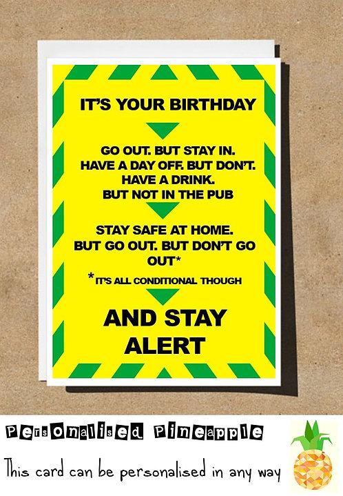 STAY ALERT BIRTHDAY CARD FUNNY LOCKDOWN