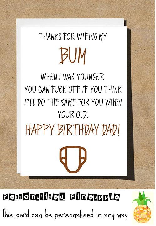 THANKS DAD BUM WIPE BIRTHDAY CARD