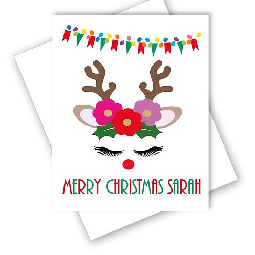 Reindeer Flowers Christmas Card Grandaughter Daughter Niece Friend Personalised