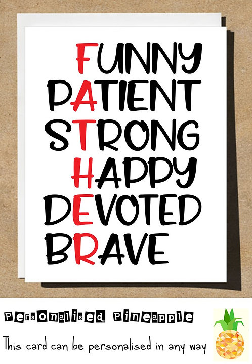 FATHERS DAY CARD - ACROSTIC POEM FUNNY BRAVE STRONG - WHITE OR KRAFT