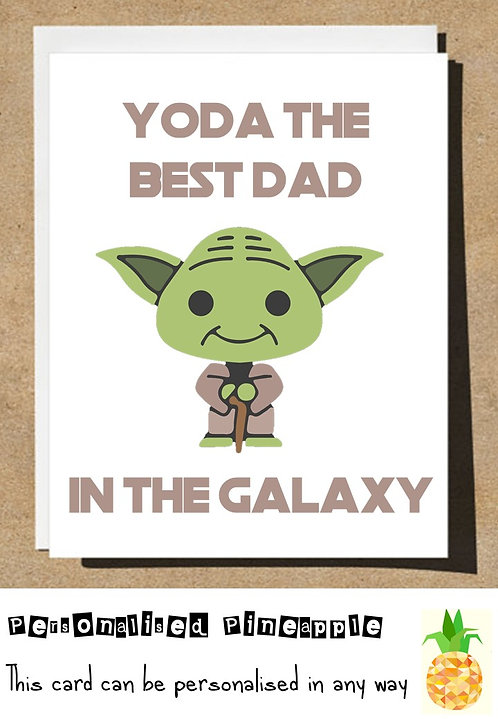FUNNY FATHERS DAY CARD - YODA BEST DAD IN THE GALAXY - STAR WARS