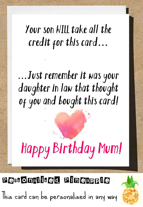 DAUGHTER IN LAW BIRTHDAY CARD FOR MUM