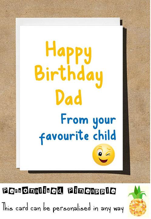 DAD FROM YOUR FAVOURITE CHILD EMOJI BIRTHDAY CARD