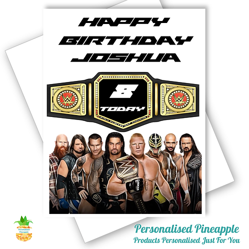 WWE Wrestling Birthday Card Son Grandson Friend Brother Can Personalised Name