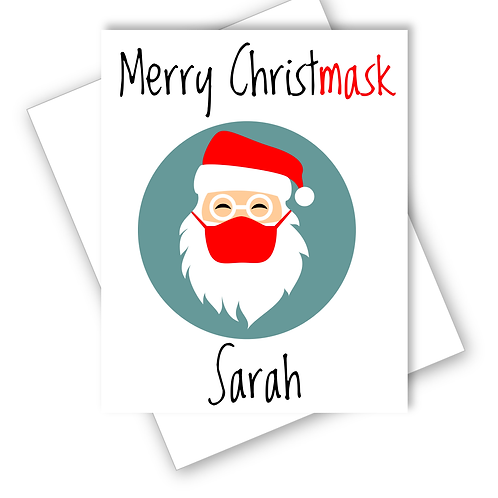 Merry Christmask Mask Santa Lockdown Christmas Card Funny