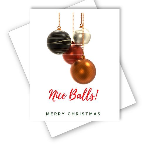 NICE BALLS CHRISTMAS CARD HUSBAND DAD FUNNY