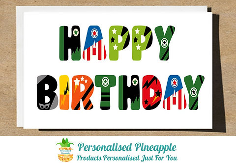 HAPPY BIRTHDAY CARD SUPERHERO LETTERING