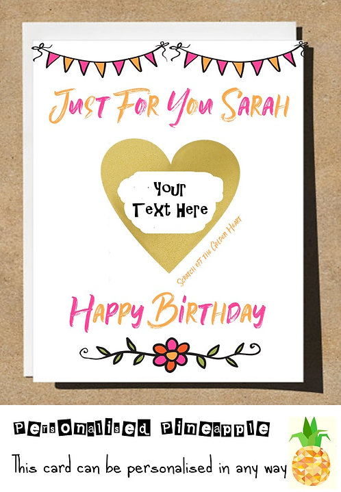 JUST FOR YOU HEART SCRATCH REVEAL SURPRISE BIRTHDAY