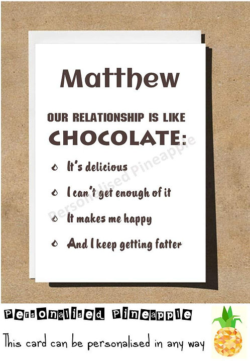 RELATIONSHIP IS LIKE CHOCOLATE VALENTINES DAY ANNIVERSARY BIRTHDAY LOVE CARD