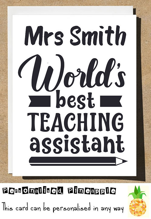Worlds Best Teaching Assistant Thank You Card