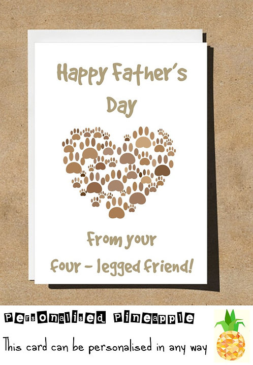 FATHERS DAY CARD - FROM THE DOG PAW PRINTS HEART