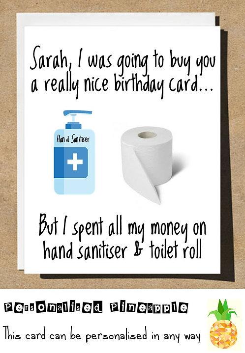 BIRTHDAY CARD HAND SANITISER & TOILET ROLL LOCKDOWN