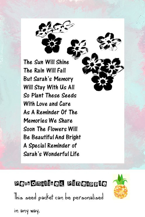 Funeral Black Flower Seed Packet Memorial Remembrance Favour White
