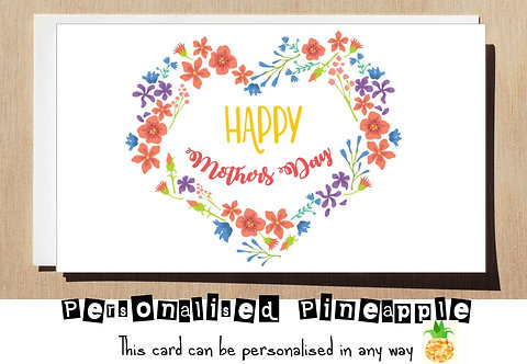 HAPPY MOTHERS DAY - MOTHER'S DAY CARD - HEART FLOWERS
