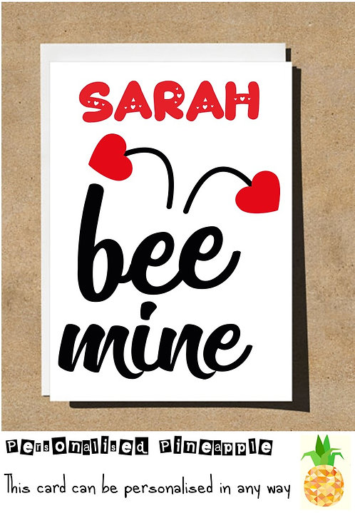 BE MINE LOVE BUG - VALENTINES DAY / LOVE CARD - PERSONALISED