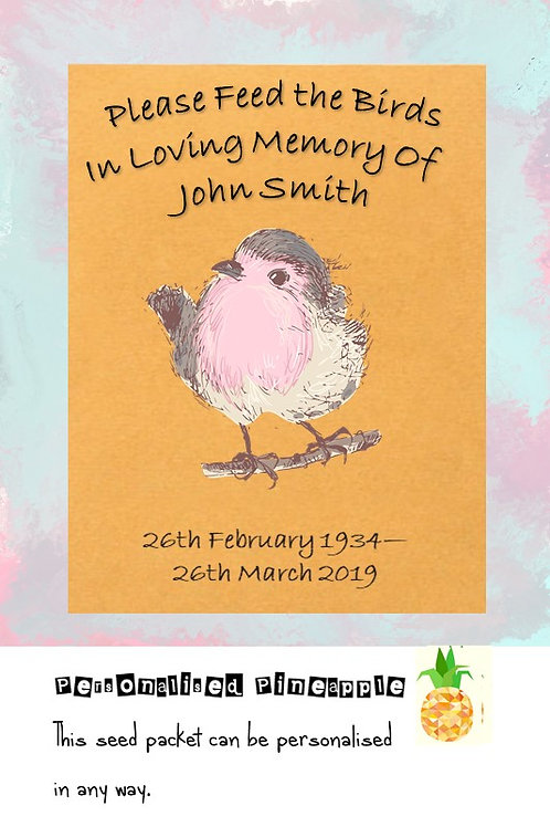 Robin Funeral Bird Seed Packet Memorial Remembrance Favour Brown