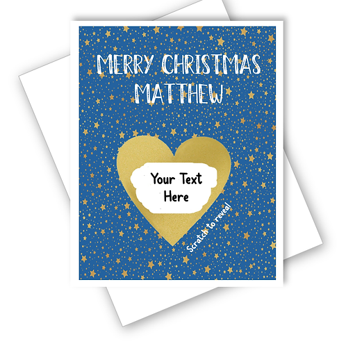 CHRISTMAS GOLD STARS SUPRISE CARD SCRATCH OFF REVEAL GIFT - CAN BE PERSONALISED