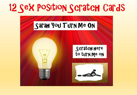 12 LOVE / VALENTINES DAY SEX POSITION SCRATCH CARDS - YOU TURN ME ON - PERS