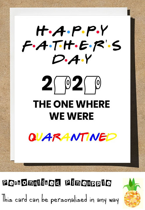 FATHERS DAY CARD - FRIENDS THEME - TOILET ROLL - LOCKDOWN