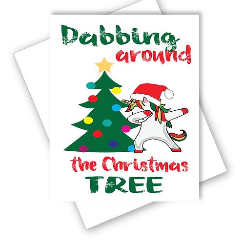 UNICORN CHRISTMAS CARD - DABBING AROUND THE CHRISTMAS TREE
