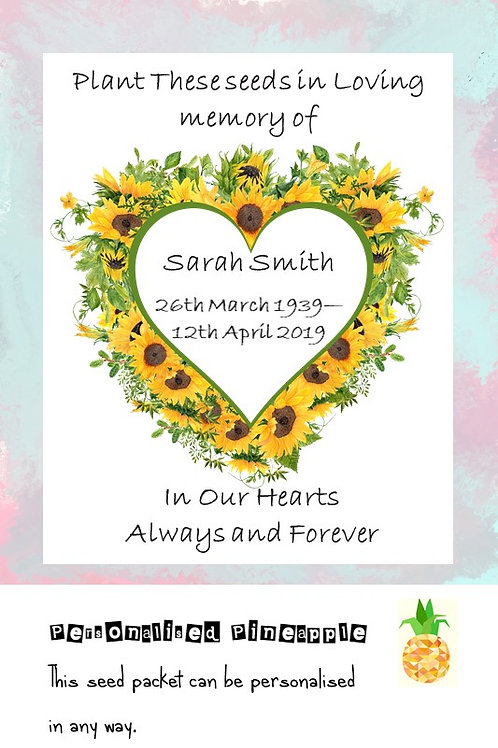 Funeral Sunflower Flower Seed Packet Memorial Remembrance Favour White