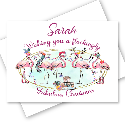 Flamingo Christmas Card Flockingly Fabulous Friend Wife Daughter Personalised