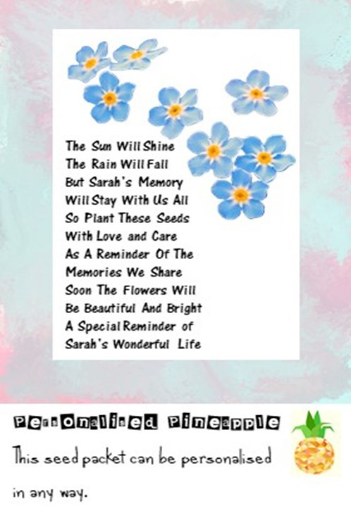 Funeral Forget Me Not Flower Seed Packet Memorial Remembrance Favour