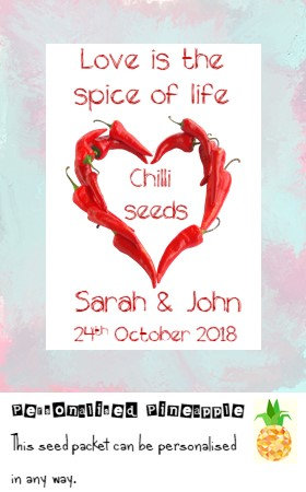 Wedding Chilli Seed Packet Favour White