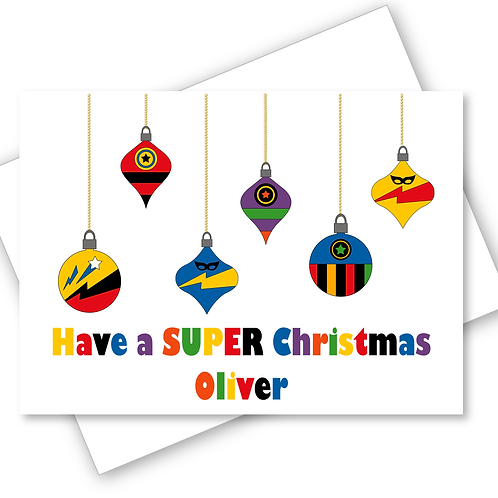 Christmas Card Superhero Baubles Son Daughter Nephew Grandson Personalised