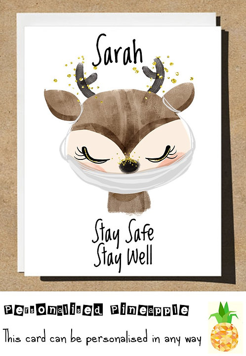 DEER MASK STAY SAFE STAY WELL LOCKDOWN CARD