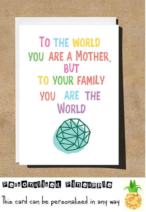 MOTHER'S DAY CARD - TO THE WORLD YOU ARE A MOTHER TO YOUR FAMILY YOU ARE WORLD