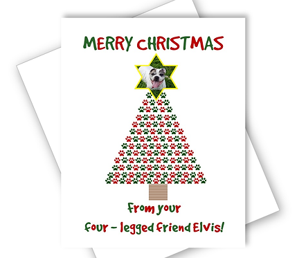 DOG CHRISTMAS CARD - PAW PRINT TREE - PERSONALISED OWN PHOTO ON STAR