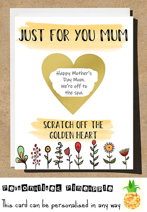 MOTHERS DAY / BIRTHDAY CARD SCRATCH OFF SURPRISE - FLORAL HEART - PERSONALISED