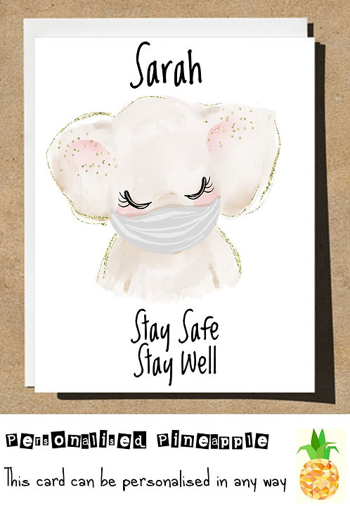 ELEPHANT MASK STAY SAFE STAY WELL LOCKDOWN CARD