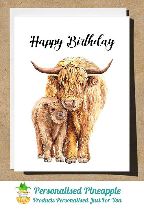 BIRTHDAY CARD COW AND CALF HAPPY BIRTHDAY - CAN BE PERSONALISED