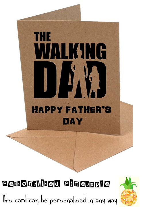 FATHERS DAY CARD - WALKING DAD - VARIOUS DESIGNS - WHITE OR KRAFT