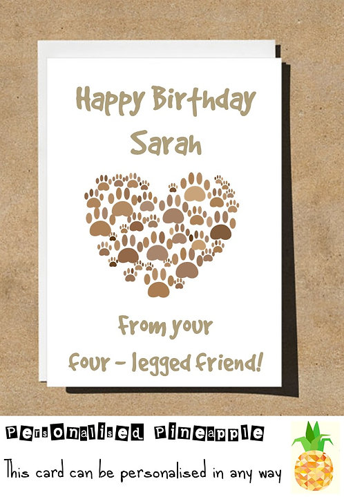 FROM YOUR FOUR LEGGED FRIEND PET BIRTHDAY CARD