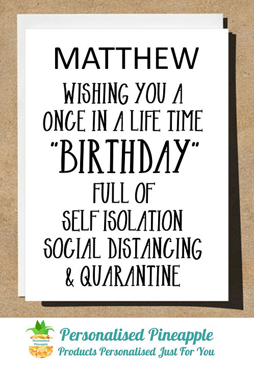 PERSONALISED BIRTHDAY CARD LOCKDOWN ONCE IN A LIFETIME
