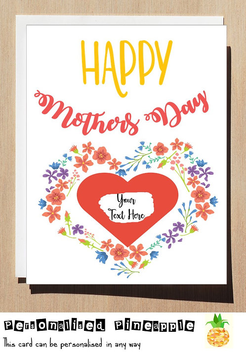 MOTHERS DAY CARD SCRATCH OFF SURPRISE - FLORAL HEART - PERSONALISED