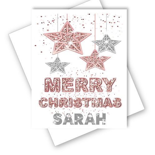 Christmas Card Rose Pink Sparkle Tree Stars Daughter Grandaughter Personalised