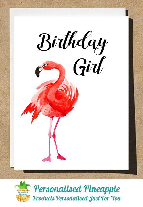 BIRTHDAY CARD FLAMINGO BIRTHDAY GIRL