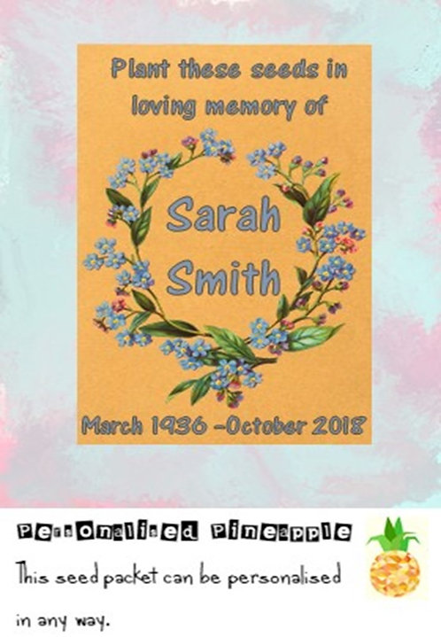 Funeral Forget Me Not Flower Seed Packet Memorial Remembrance Favour Brown