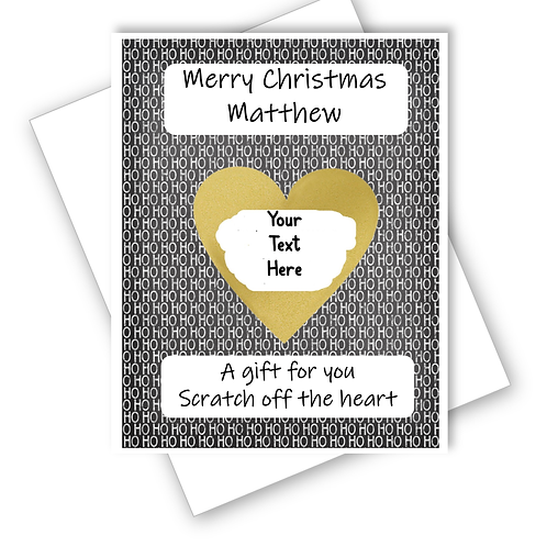 CHRISTMAS HO HO HO SUPRISE CARD SCRATCH OFF REVEAL GIFT - CAN BE PERSONALISED