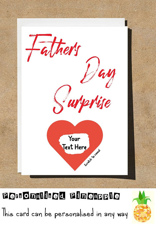 FATHERS DAY SURPRISE SCRATCH OFF REVEAL CARD - HEART