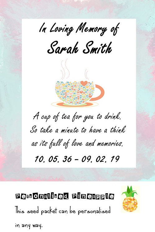 Funeral Tea Bag Cup of Tea Packet Memorial Remembrance Favour White Personalised