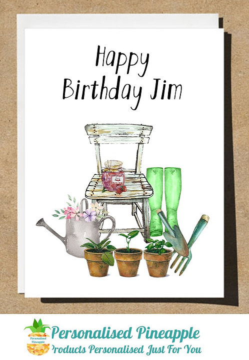 HAPPY BIRTHDAY CARD GARDENING - CAN BE PERSONALISED